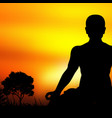 sunset meditation silhouette background vector image vector image