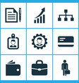 trade icons set with growing chart identification vector image vector image
