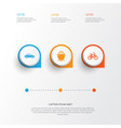 transport icons set collection of bicycle tanker vector image vector image
