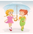 Two friends holding umbrella Template greeting vector image