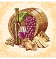 Wine cheese emblem vector image vector image
