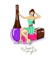 with girl and nail polish bottles vector image