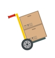 Yellow hand cart with cardboard boxes vector image