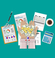 hands with money and financial reports vector image