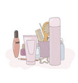 a set of cosmetic products makeup kit personal vector image