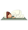 arab muslim boy praying in traditional clothing vector image