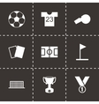 black soccer icon set vector image vector image