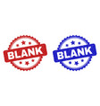 blank rosette stamps with unclean texture vector image vector image