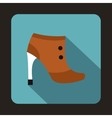 Brown boot with high heels icon in flat style vector image vector image