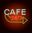 cafe logo neon light icon realistic style vector image vector image