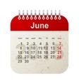 calendar 2015 - june vector image vector image