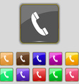 Call icon sign Set with eleven colored buttons for vector image