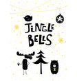 christmas card gold jingle bells bear moose bird vector image vector image