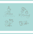 coffee pen line signs turquoise vector image vector image