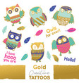 collection funny owls with golden vector image vector image