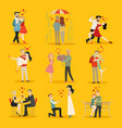 collection of happy loving couple for vector image