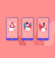 cute bride hold bouquet mobile app page vector image