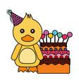 cute duck birthday sweet cake vector image vector image