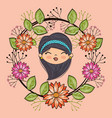 cute girl head character with floral frame vector image vector image