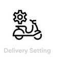 delivery setting bike icon editable line vector image