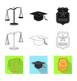 design of law and lawyer icon collection vector image