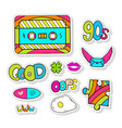 fashion stickers elements with cassette and cute vector image vector image
