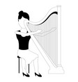 female avatar playing a harp vector image vector image