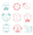 feminine wedding planner template logo sign vector image