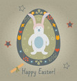 festive easter egg with cute character of bear vector image vector image