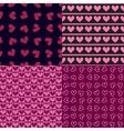 Four seamless patterns with hearts vector image
