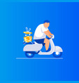 gift delivery man is riding a scooter vector image