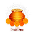 gold coins pot with marigold flower for dhanteras vector image