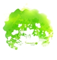 Green watercolor stain with white foliage vector image vector image