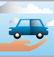 hand holding car transport family protection vector image