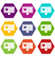 heartbeat icon set color hexahedron vector image vector image