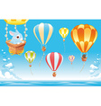 Hot air balloons in the sky on the sea with bunny vector image vector image