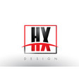 hx h x logo letters with red and black colors and vector image vector image