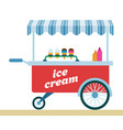 ice cream trolley icon flat isolated vector image vector image