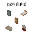 isometric design set of bedstead cabinet vector image vector image