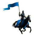 knight on horse carrying a flag vector image vector image