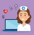 laptop with doctor character and telemedicine vector image vector image
