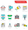 line icons advertising marketing product vector image vector image