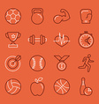 linear sport and fitness logo design template and vector image
