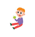 little preschool kindergarten boy sitting on vector image