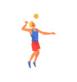 man playing with ball wearing sports uniform vector image vector image