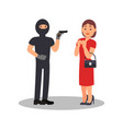 man with gun robbing young woman robber in black vector image vector image