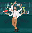 multi-armed bartender hipster prepares cocktail vector image vector image