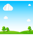 Nature background Cloud sky field tree and polygon vector image vector image