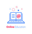 online education open book and laptop vector image