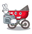photographer baby sitting in a baby stroller vector image
